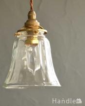 ガラスのゆらめきがキレイなペンダントライト(コード・シャンデリア電球・ギャラリーA付き)