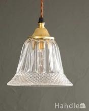 細かいダイヤ模様が輝くガラスのペンダントライト(ギャラリー付きコード・シャンデリア電球)