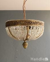 フランスで見つけた豪華なアンティークシャンデリア (3灯)(E17シャンデリア球付)