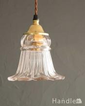 スミレの花が咲いたようなデザインのガラスのペンダントライト(ギャラリー付きコード・シャンデリア電球)