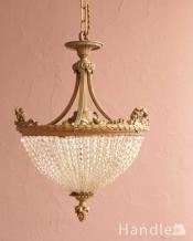 フランスアンティークのシャンデリア(3灯)(E17シャンデリア球付)