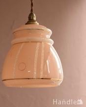明かりがこぼれるアンティークガラスシェード(コード・シャンデリア電球・ギャラリーなし)