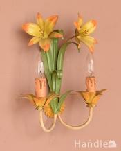 お花のモチーフの可愛いフランスで見つけたアンティークブラケット(2灯)(E17シャンデリア球付)