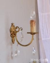 フランスアンティーク照明、ガラスドロップ付きのウォールシャンデリア(E17シャンデリア球付)