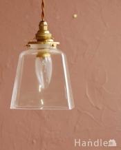 スッキリとしたクリアガラスのペンダントライト(プリズムクリア)(コード・シャンデリア電球・ギャラリーA付き)