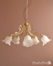 スズランが咲いたデザインが可愛いアンティーク風のガラスシェード付きシャンデリア(5灯・電球なし)