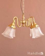 ダイヤカットがキラキラ輝くアンティーク風シャンデリア(4灯・電球なし)