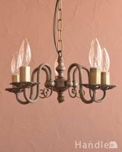 アンティーク風の真鍮製シャンデリア(5灯・電球なし)