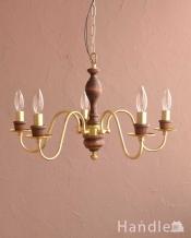 木製×真鍮のコラボが人気のアンティーク風の木製シャンデリア(5灯・電球なし)