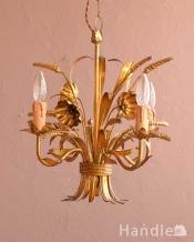 エレガントな真鍮製アンティークシャンデリア(3灯)(E17シャンデリア球付)