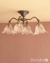 アンティーク風の真鍮製シーリングシャンデリア(アンティーク色・4灯・電球なし)