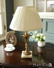 真鍮製のアンティークテーブルランプ(E17シャンデリア球付き)
