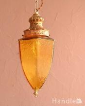 アンバー色のガラスがキレイなアンティークのシャンデリア(E17シャンデリア球付)