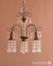 ガラスのビーズが美しいアンティーク風のシャンデリア(3灯)(E17電球付)