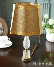 ガラスの土台がキラキラ輝く豪華なアンティークテーブルランプ (E17シャンデリア球付)