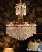 豪華な輝きのフランスアンティークシャンデリア(3灯)(E17丸球付)