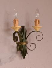 フランス輸入のアンティーク照明、お洒落なウォールブラケット(2灯)(E17シャンデリア球付)