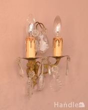 フランスアンティークのガラスパーツが優雅なウォールシャンデリア(E17シャンデリア球付)