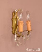 フランスアンティークの照明、ガラスドロップ付の真鍮ウォールブラケット(E17シャンデリア球付)