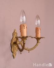 英国アンティーク壁付け照明、2灯タイプのウォールブラケット(E17シャンデリア球付)