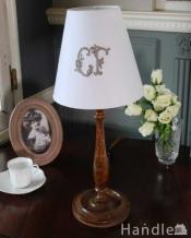 英国インテリアのアンティーク照明、木製のテーブルランプ(E17シャンデリア球付)