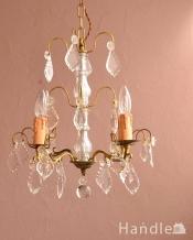 フランスのアンティーク照明、ガラスの シャンデリア(4灯)(E17シャンデリア球付)