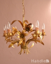 お花のブーケの形が可愛いアンティークシャンデリア(5灯)(E17シャンデリア球付)
