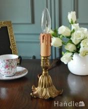 イギリスの真鍮製照明、アンティークテーブルランプ(E17シャンデリア球付)