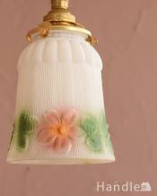 アンティークのペンダントライト、可愛いお花のガラスの照明(コード・シャンデリア電球・ギャラリーA付き)