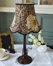 アンティーク風のおしゃれなテーブルランプ、ウィリアムモリス柄のシェード(ピンパネル)(E26球・ナツメ球付き)