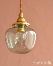 リンゴの形をしたガラスのペンダントライト(コード・丸球・ギャラリーA付き・グリーン)
