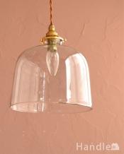 ドーム型のクリアガラスのペンダントライト(コード・シャンデリア電球・ギャラリーA付き)