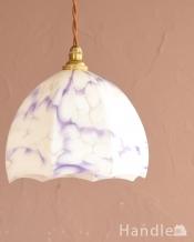 アンティークのペンダントライト、パープル模様がキレイなシェード(コード・シャンデリア電球・ギャラリーなし)