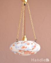 イギリスのアンティーク照明、 ガラスの模様がキレイなハンギングランプ(E26球付き)