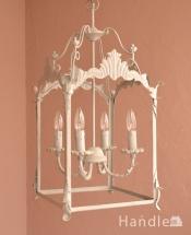 フランスのアンティーク風シャンデリア、ランタン型の照明(電球ナシ)