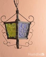 アンティークの照明、アイアンが美しいミニシャンデリア(1灯・E17シャンデリア球付)