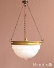 アンティークのハンギングボウル、点灯すると模様が浮かび上がる贅沢な照明器具(E26球付き)