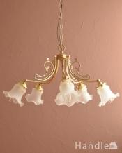 アンティーク調のシャンデリア、2通りの使い方が出来る美しい照明(5灯・電球なし)