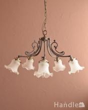 アンティーク調のシャンデリア、2通りの使い方が出来る美しい照明(アンティーク色・5灯・電球なし)