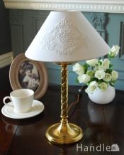 アンティークのテーブルランプ、イギリスの真鍮製照明(E17丸球付)