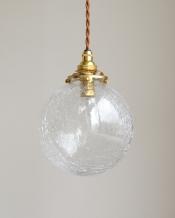アンティーク風丸いガラスボールのペンダントライト(コード・シャンデリア球・ギャラリーA付き)