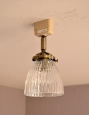 ストライプガラスのアンティーク風シーリングライト(電球セット)