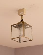 立方体型がお洒落、フレスコガラスのシーリングライト(電球セット)