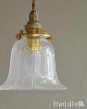 小さなお花が可愛いガラスシェード(コード・シャンデリア電球・ギャラリーA付き)