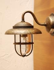 真鍮製ウォールブラケット(外灯・アンティーク色)(電球セット)