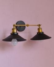 アイアン製可動式、2灯タイプのウォールランプ 平傘型(ブラック)(電球なし)