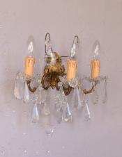 華やかなアンティーク照明、ゴールド色の上品なウォールブラケット(E17シャンデリア球付)