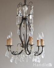 ガラスコラムが付いたゴージャスな照明、フランスアンティークのシャンデリア(6灯)(E17シャンデリア球付)