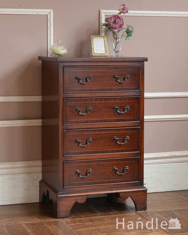 2051eac8b3 マホガニー材を使ったアンティーク英国アンティーク家具、ベッドサイドチェスト(4段