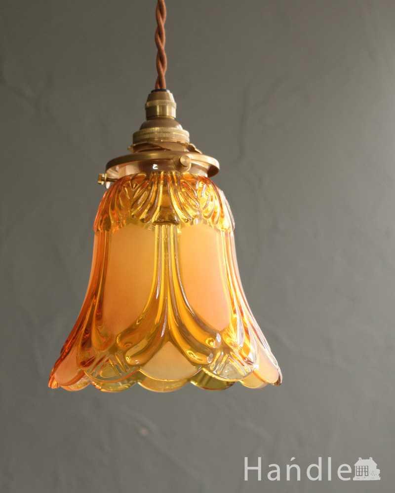 フロストガラスの美しい模様のペンダントライト(コード・シャンデリア電球・ギャラリーA (pl-227)